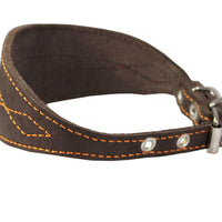 "Brown Real Leather Tapered Extra Wide Whippet Dog Collar 2"" Wide, Fits 11.5""-15"" Neck, Medium"