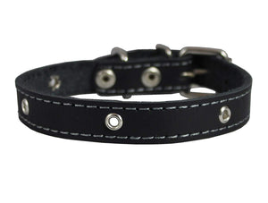 "Real Leather Studded Dog Collar 15""x5/8"" Black Fits 10.5""-13.5"" Neck"