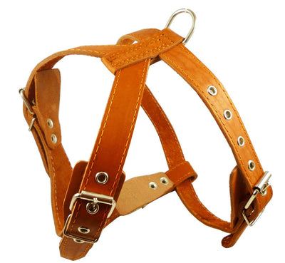 Orange Genuine Leather Dog Harness, Medium. 25