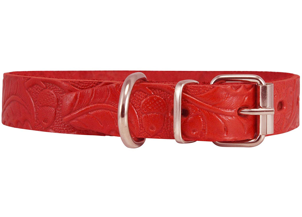 Genuine Tooled Leather Dog Collar Floral Pattern Red 3 Sizes