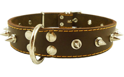 Dogs My Love Real Leather Brown Spiked Dog Collar Spikes 1.5