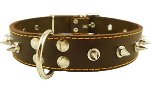 "Dogs My Love Real Leather Brown Spiked Dog Collar Spikes 1.5"" Wide Fits 17""-21.5"" Neck Large Breeds"
