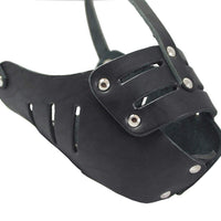 "Real Leather Cage Basket Secure Dog Muzzle #118 Black (Circumference 11.8"", Snout Length 3.5"")"