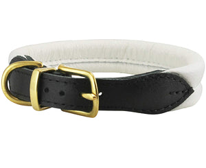 White Soft Genuine Rolled Leather Dog Collar Brass Hardware