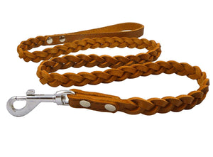 "Genuine Fully Braided Leather Dog Leash 4 Ft Long 5/8"" Wide Brown, Medium Breeds"