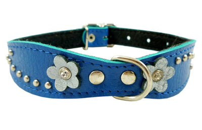 Blue Genuine leather Designer Dog Collar 11