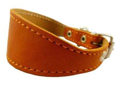 Orange Real Leather Tapered Dog Collar 1,5