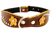 "Brown Genuine leather Designer Dog Collar 11""x3/4"" with Studs, Daisy, and Rhinestone"