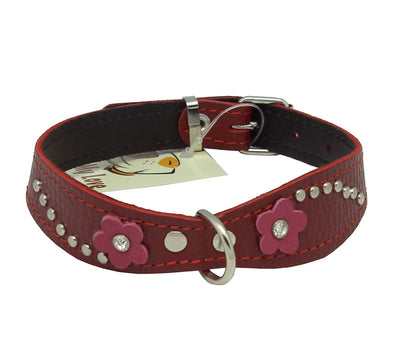 Red Genuine leather Designer Dog Collar 11
