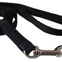 "Dog Leash 1/2"" Wide Nylon 6ft Length with Leather Enforced Snap Black Small"