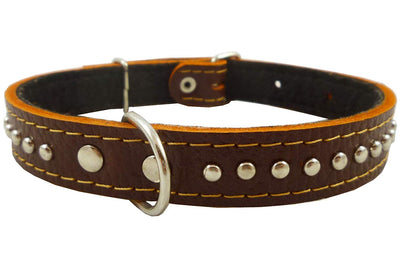 Genuine Leather Studded Padded Dog Collar 15