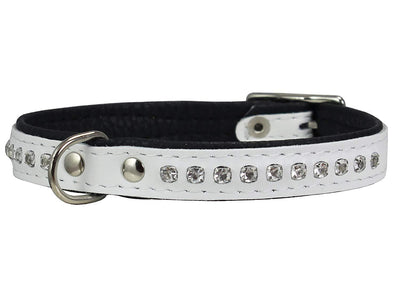Dogs My Love Rhinestone Genuine Leather Dog Collar White