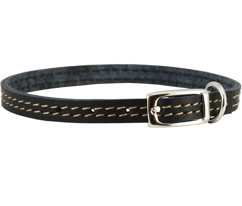 "Genuine Leather Dog Collar 8""-9.5"" Neck for Smallest Breeds and Young Puppies Black"
