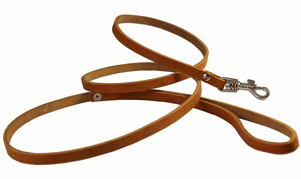 "Genuine Leather Classic Dog Leash, 4' Long, 3/8"" Wide, Puppies, XSmall Breeds"