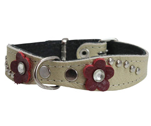 "Beige Genuine leather Designer Dog Collar 11""x3/4"" with Studs, Daisy, and Rhinestone"