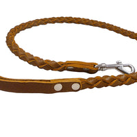 4-thong Round Fully Braided Genuine Leather Dog Leash, 4 Ft Long Brown, Large Breeds