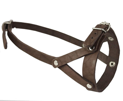 Adjustable Leather Loop Bite Bark Control Easy Fit Muzzle Brown. Fits 10.5