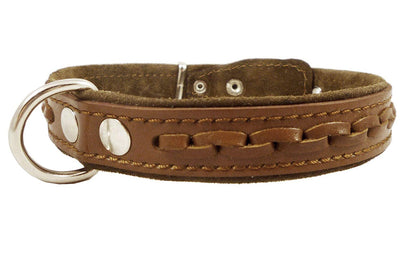 Genuine Leather Braided Dog Collar, Brown 1