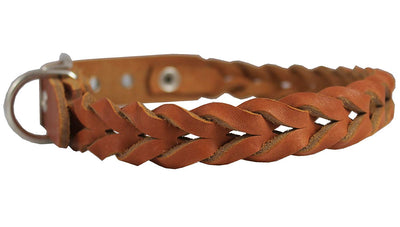 Dogs My Love Tan Genuine Leather Braided Dog Collar Braided 1
