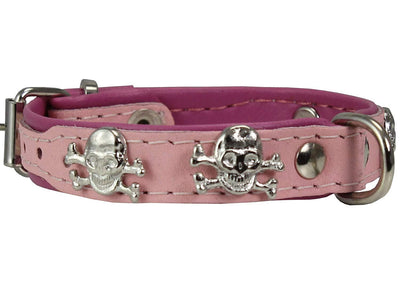 Real Leather Skull Studded Padded Dog Collar Pink/Baby-Pink