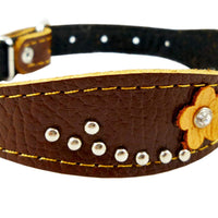 "Brown Genuine leather Designer Dog Collar 14.5""x1"" with Studs, Daisy, and Rhinestone"