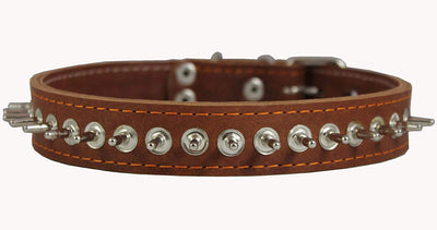 Thick Genuine Leather Spiked Dog Collar 1