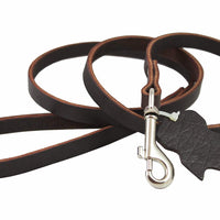 Genuine Leather Classic Dog Leash Brown 1/2 Wide 4 Ft Basset Hound, Collie, Shar-Pei