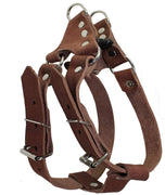 "Genuine Leather Medium 18.5""-22"" Chest 3/4-inch Wide Adjustable Dog Step-in Harness Brown"