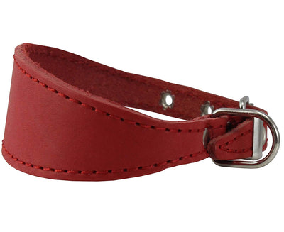 Red Real Leather Tapered Dog Collar 1,5