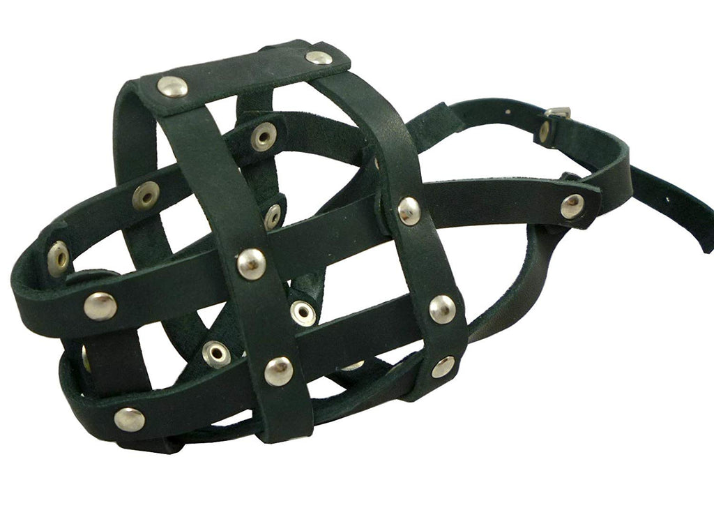 "Genuine Leather Dog Basket Muzzle #105 Black - Pit Bull, AmStaff (Circumf 12"", Snout Length 3.5"")"