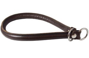 "Round Genuine Rolled Leather Choke Dog Collar 21"" Long Brown"