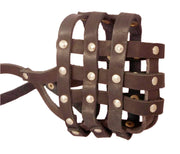 "Real Leather Dog Basket Muzzle #107 Brown - Pit Bull, AmStaff (Circumference 12"", Snout Length 3.5"")"