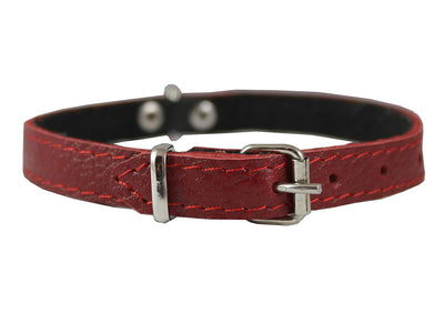 Red Genuine Leather Felt Padded Dog Collar 13