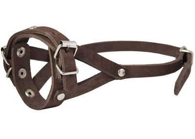 Adjustable Leather Loop Bite Bark Control Easy Fit Dog Muzzle Brown. Fits 8