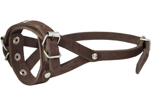 "Adjustable Leather Loop Bite Bark Control Easy Fit Dog Muzzle Brown. Fits 8""-10"" Snout."