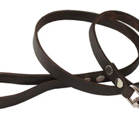 "4' Genuine Leather Classic Dog Leash Brown 3/4"" Wide for Large Dogs"