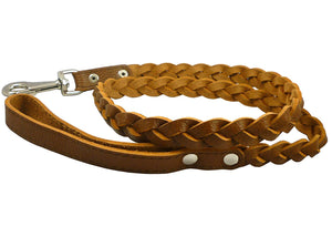 "Genuine Fully Braided Leather Dog Leash 4 Ft Long 1"" Wide Brown, Large Breeds"