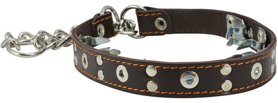 Training Genuine Leather Pinch Martingale Dog Collar Studded 4mm Link Brown 3 Sizes