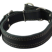 "Martingale Genuine Black Double Ply Leather Dog Collar Choker Large Fits 19""-22.5"" Neck."