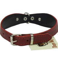 "Red Genuine leather Designer Dog Collar 11""x3/4"" with Studs, Daisy, and Rhinestone"