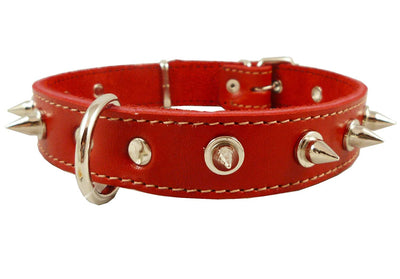 Real Leather Red Spiked Dog Collar Spikes, 1
