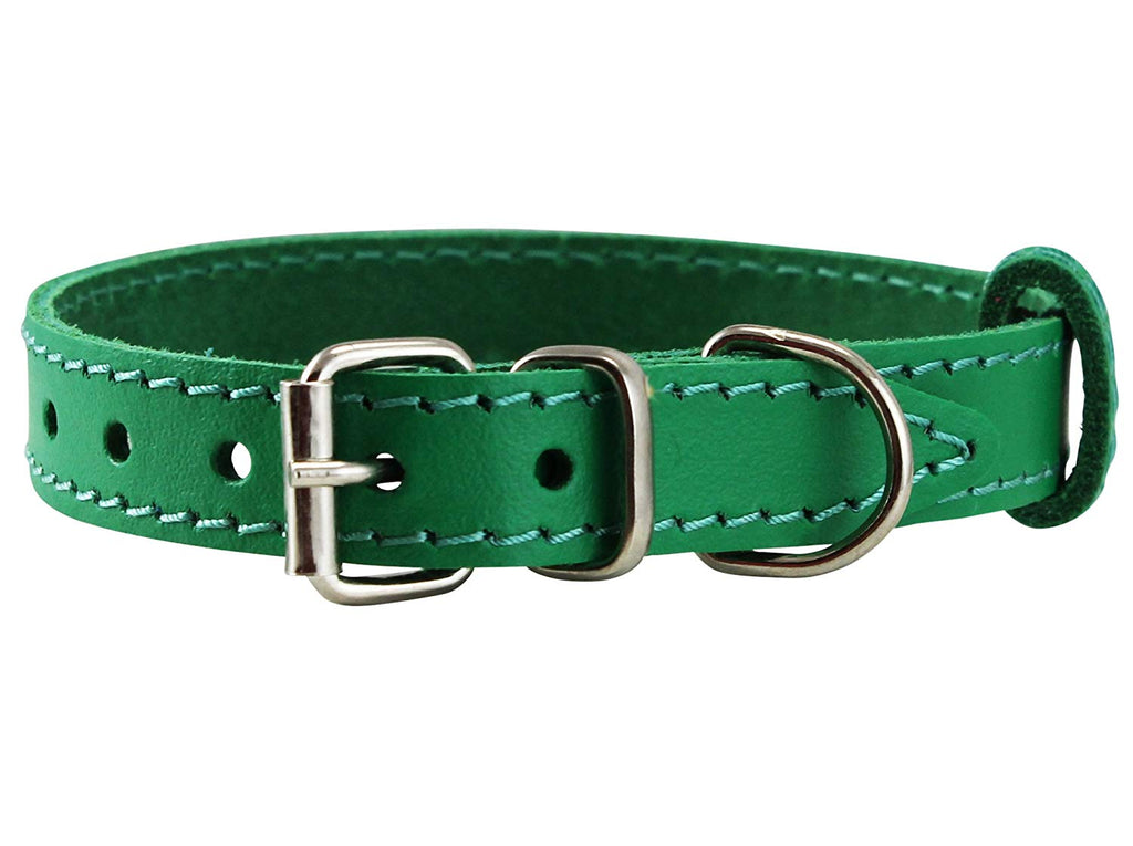 Genuine Leather Dog Collar for Smallest Dogs and Puppies 3 Sizes Green