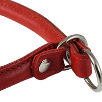 "Round Genuine Rolled Leather Choke Dog Collar 19"" Long Red"
