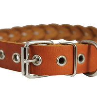 "Dogs My Love Tan Genuine Leather Braided Dog Collar Braided 1"" Wide, Fits 18""-21.5"" Neck, Medium"