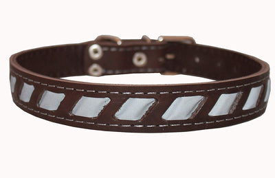 Genuine Leather Reflective Dog Collar 24