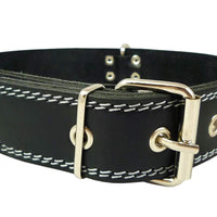 "Dogs My Love Genuine 1.6"" Wide Thick Leather Studded Dog Collar Black. Fits 19""-23"" Neck"