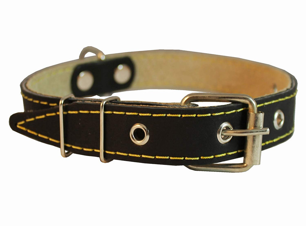 "Genuine Leather Dog Collar 13""-19.5"" Neck Size, 1"" Wide Black"