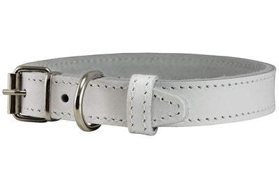 Genuine Leather Dog Collar White 4 Sizes
