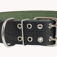 "Genuine Leather Dog Collar, Padded, Black 1.75"" Wide. Fits 23""-27"" neck size Great Dane Mastiff"