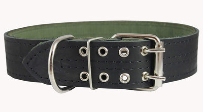 Genuine Leather Dog Collar, Padded, Black 1.75